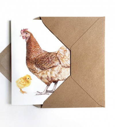 Grußkarte Huhn mit Küken Osterkarte inkl