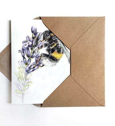 Grußkarte Hummel auf Lavendel Karte zum