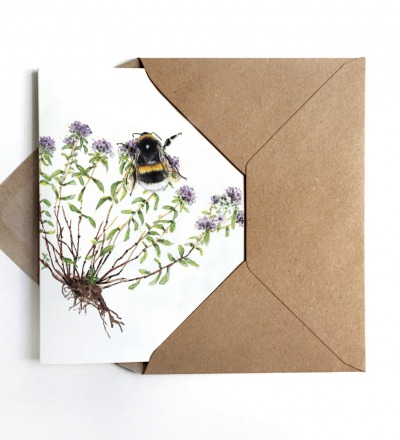 Grußkarte Hummel Kräuter - inkl Umschlag