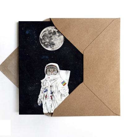 Grußkarte Spacecat, Geburtstagskarte, Karte mit Katze im Weltall