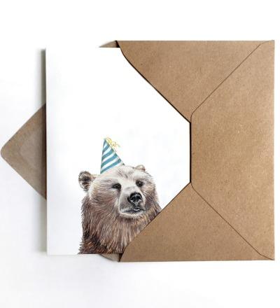 Grußkarte Partybär Geburtstagskarte - inkl Umschlag