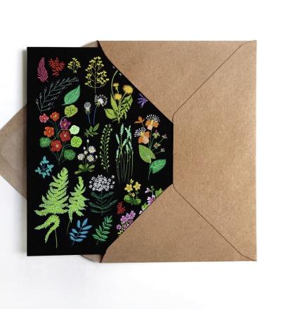 Grußkarte Wald und Wiesenblumen