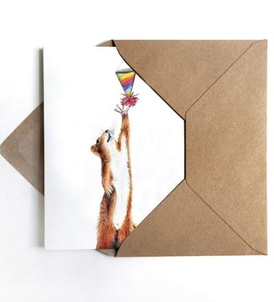 Grußkarte Partyhörnchen Geburtstagskarte - inkl Umschlag