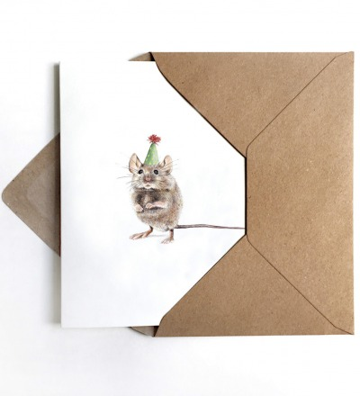 Grußkarte Partymaus Geburtstagskarte