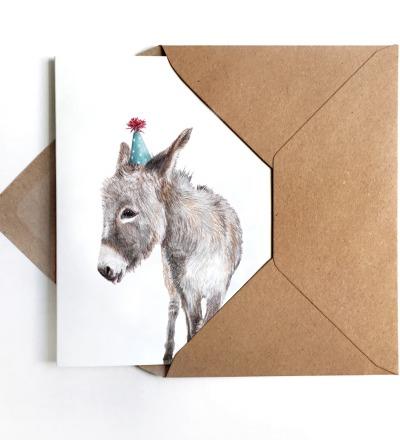 Grußkarte Partyesel Geburtstagskarte - inkl Umschlag