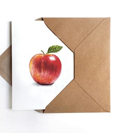 Grußkarte Apfel Apfelkarte - inkl Umschlag