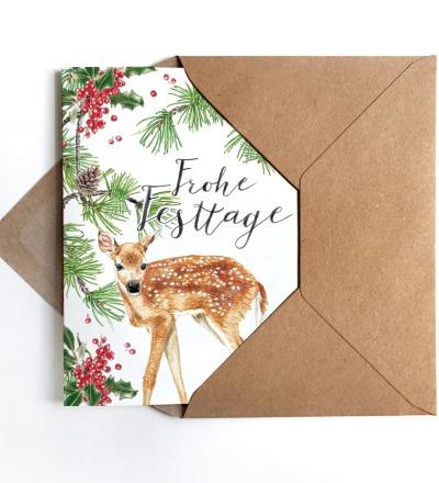 Weihnachtskarte Reh, Klappkarte, Grußkarte