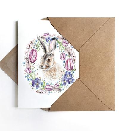 Osterkarte Klappkarte Grusskarte Ostern Hase mit Bluetenkranz