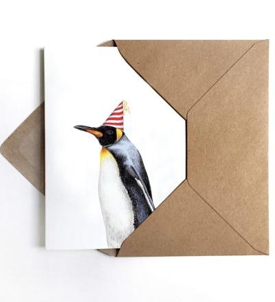 Grußkarte Partypinguin Geburtstagskarte