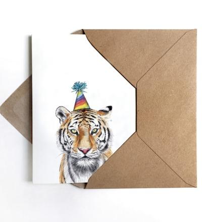 Grußkarte Partytiger, Geburtstagskarte