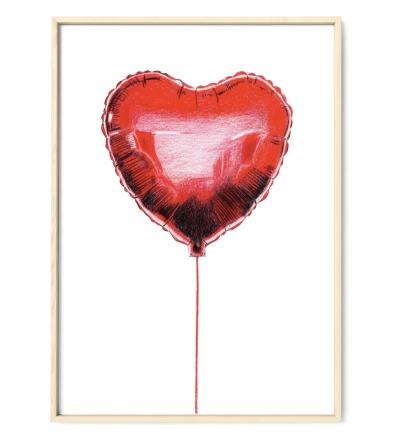 Herzluftballon Poster Kunstdruck Zeichnung Buntstiftzeichnung Reproduktion