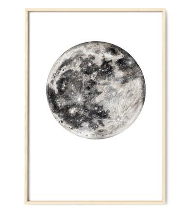 Mond Zeichnung Poster Kunstdruck Buntstiftzeichnung Reproduktion
