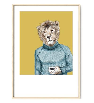 Zeichnung Löwe Poster Kunstdruck A4 Bleistift-Buntstift-Zeichnung