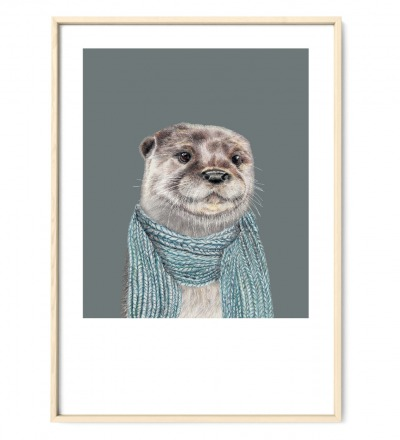 Otter Poster Kunstruck DIN A4 Aquarell-Buntstiftzeichnung