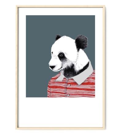 Zeichnung Panda Poster Kunstdruck A4 Bleistift-Buntstift-Zeichnung