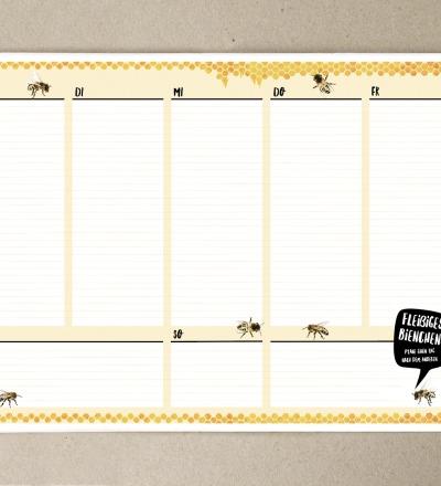 Wochenplaner A5 Fleissiges Bienchen Bloch 50 Blatt Planer - 50 Blatt Naturpapier creme