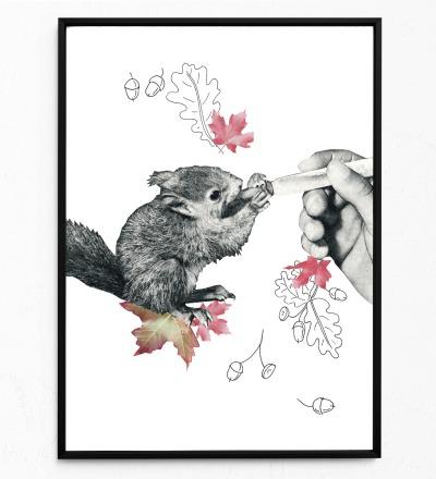 Baby-Eichörnchen Poster Kunstdruck DIN A3 Collage
