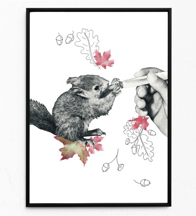 Collage Poster Baby-Eichörnchen Kunstdruck Vogelposter Tierposter - Collage aus Magazinen der 50ziger & 60ziger Jahre