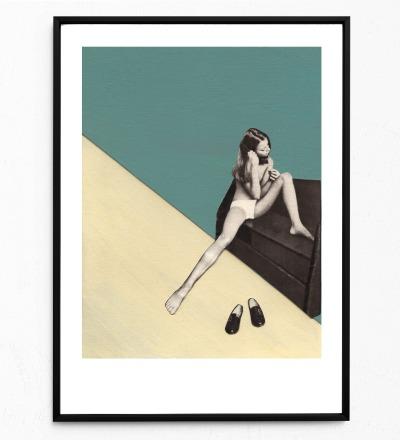Collage Mädchen mit Haarbürste Poster Collageposter Kunstdruck - Collage aus Magazinen der 50ziger & 60ziger Jahre