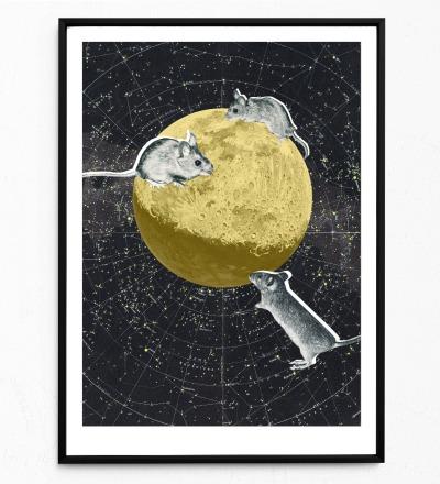 Collage Mäuse auf dem Mond Poster Kunstdruck Tierposter - Collage aus Magazinen der 50ziger & 60ziger Jahre