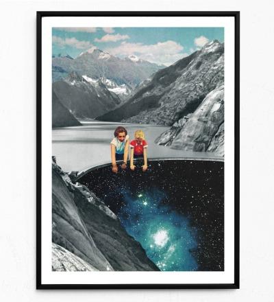 Collage Abgrund Poster Kunstdruck Collage aus
