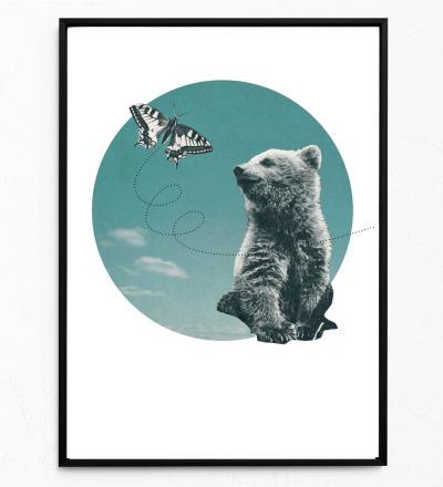 Collage Poster Bär Kunstdruck Bärenposter Tierposter - Collage aus Magazinen der 50ziger & 60ziger Jahre