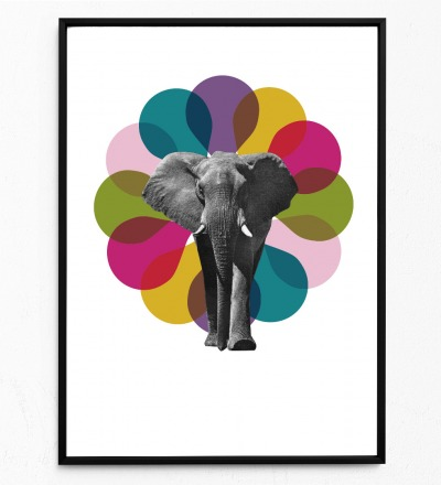 Collage Elefant Poster Collageposter Kunstdruck Tierposter