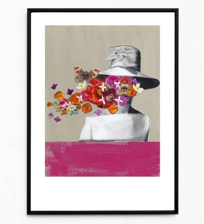 Collage Frau mit Hut Poster Collageposter Kunstdruck - Collage aus Magazinen der 50ziger & 60ziger Jahre