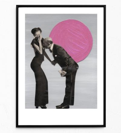Collage Küss die Hand Poster Collageposter Kunstdruck - Collage aus Magazinen der 50ziger & 60ziger Jahre
