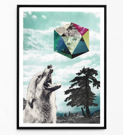 Collage Mondsüchtig Fuchsposter Kunstdruck Tierposter Collage