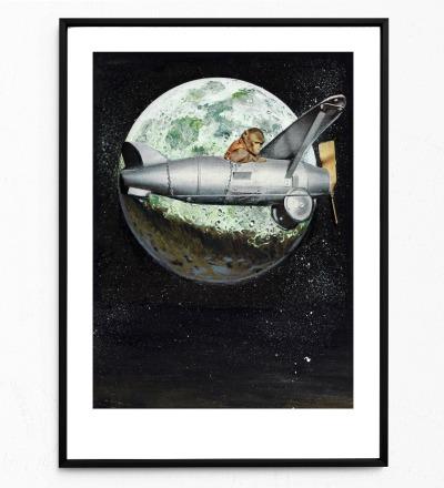 Collage Spacemonkey Poster Collageposter Kunstdruck Tierposter