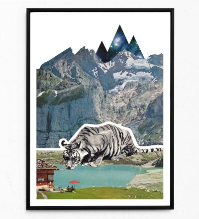 Collage Bergtiger Poster Tierposter Kunstdruck Tiger