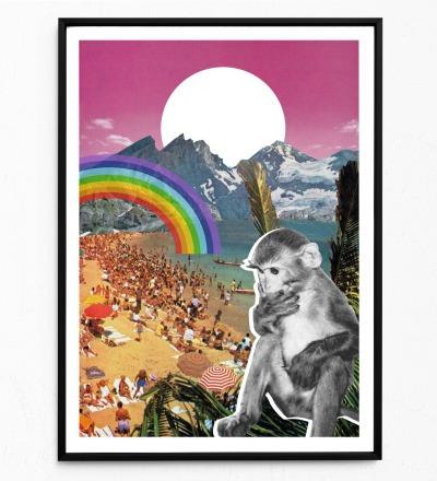 Collage Poster Waikiki Kunstdruck Tierposter Collage