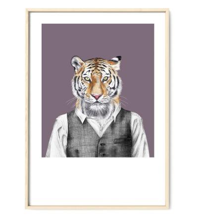 Tiger Poster Kunstdruck Tierportrait Buntstiftzeichnung Reproduktion