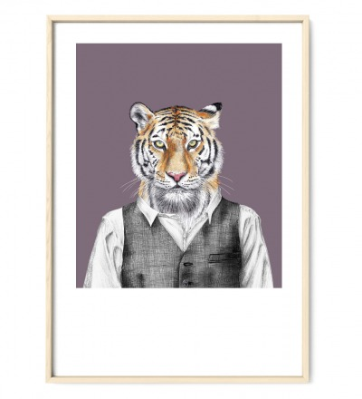 Zeichnung Tiger Poster Kunstdruck A4 Bleistift-Buntstift-Zeichnung