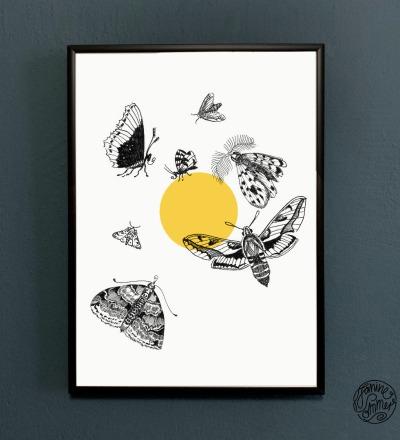 Motten fliegen zum Licht Motten Poster Kunstdruck A4 Insektenzeichnung Nachtfalter gezeichnet