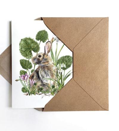 Grußkarte Hase mit Frühjahrsblühern Osterkarte inkl