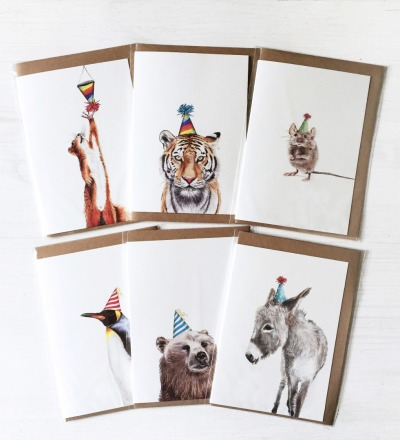 6x Grußkarte Partyanimals Glückwunschkarte Geburtstagskarte Party Geburtstagparty Tiere mit Partyhut Illustration