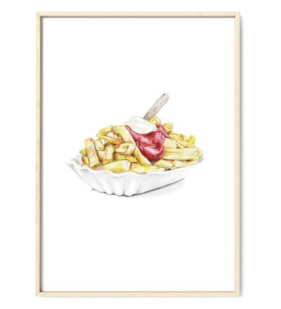 Pommes rot-weiß Poster Kunstdruck DIN A4