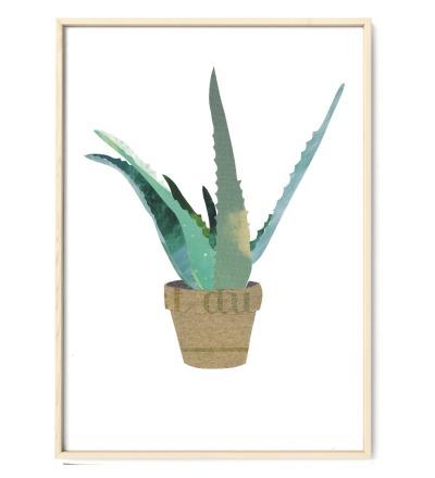 Collage Aloevera Kunstdruck Pflanzenposter - Collage