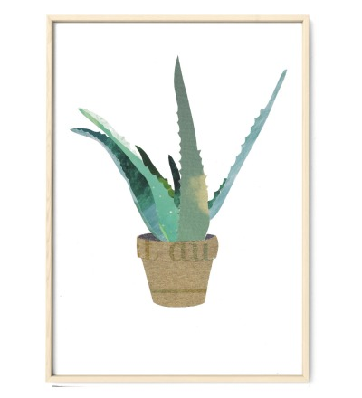 Collage Aloevera Kunstdruck Pflanzenposter - Collage