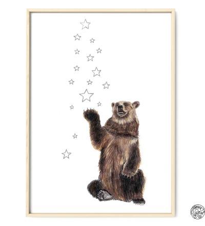 Bär mit Sternen Kunstdruck Poster Zeichnung