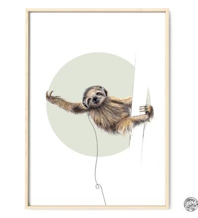 Faultier Poster Kunstdruck Zeichnung Buntstiftzeichnung Reproduktion