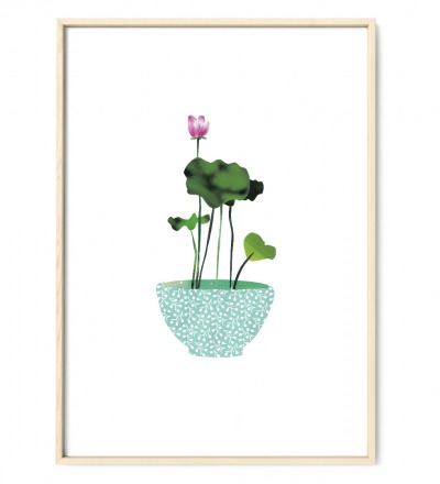 Collage Lotus Kunstdruck Lotuspflanze Pflanzenposter Collage