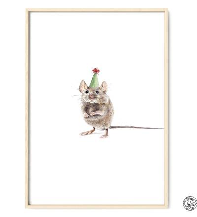 Partymaus Poster Kunstdruck Maus Zeichnung Bunttstiftzeichnung