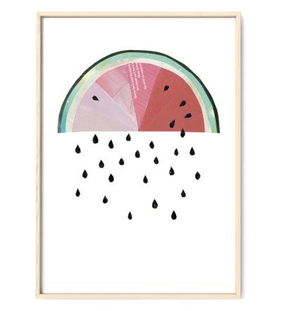 Collage Melonenregen Poster Melone Kunstdruck Melonenposter Pflanzenposter - Collage