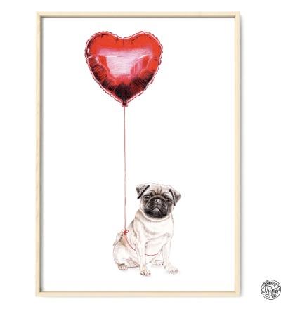 Mops mit Ballon Zeichnung Poster Kunstdruck