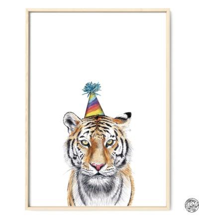 Partytiger Poster Kunstdruck Tiger Zeichnung Buntstiftzeichnung