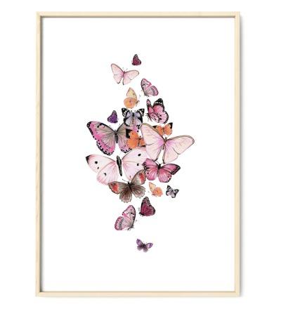 Schmetterlinge rosa Poster Kunstdruck Zeichnung Buntstiftzeichnung