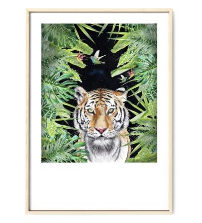 Tiger nachts im Dschungel, Poster, Kunstdruck, DIN A4, Tiger Zeichnung